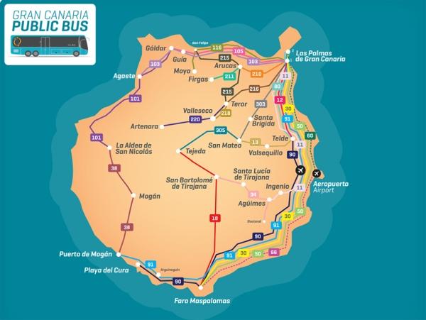 Buskarte von Gran Canaria mit Buslinien