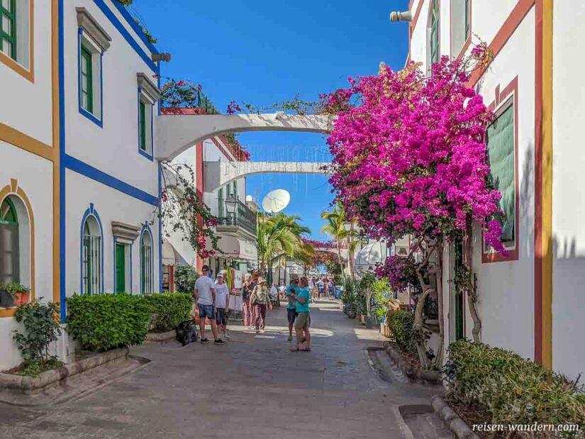 Gasse mit Blumen in Puerto de Mogan