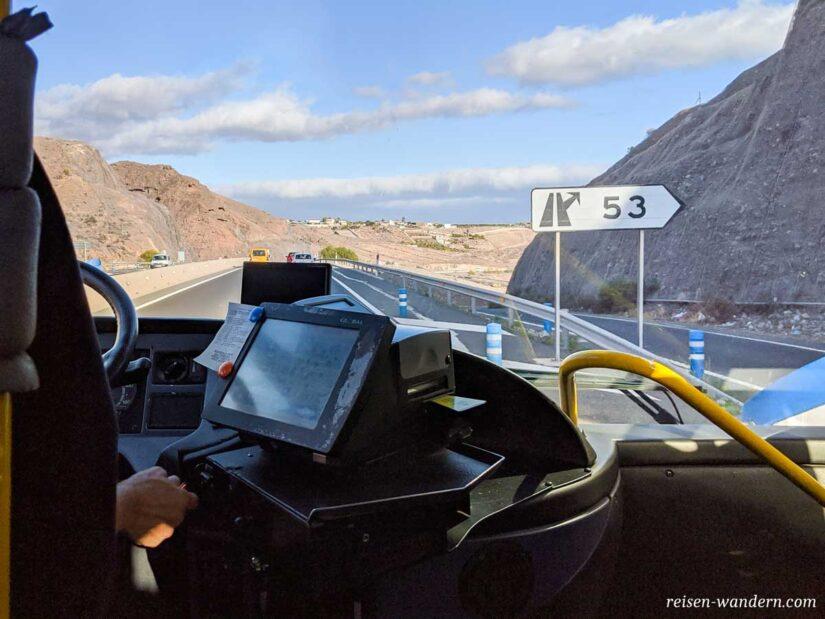 Blick aus einem Bus auf Gran Canaria