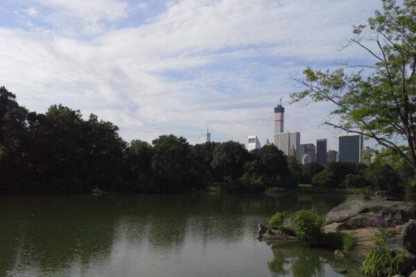 Hinter einem See im Central Park sieht man Wolkenkratzer hervorragen