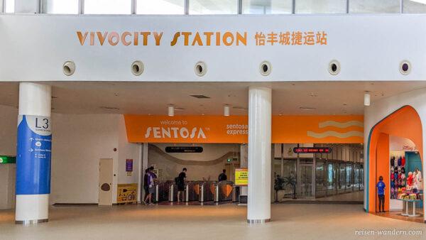 Eingang zur Sentosa Hochbahn im Shoppingcenter VivoCity