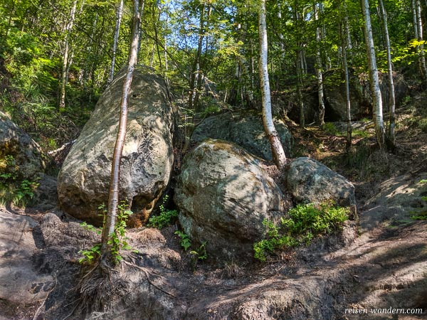 Abzweig Bergpfad auf Zustiegsweg zur Starken Stiege