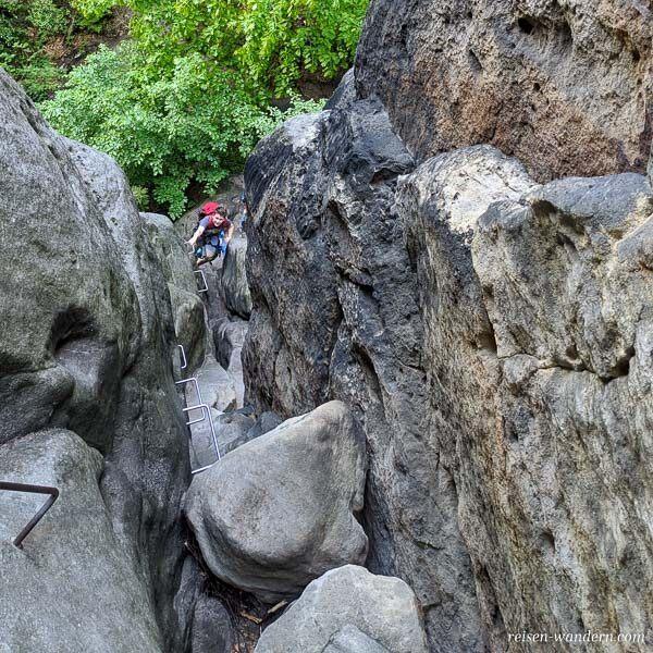Unterer Teil der Rübezahlstiege vor dem Loch