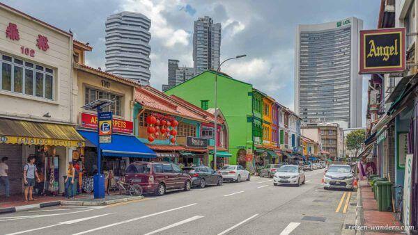 Bunte Häuser auf der Arab Street in Singapur