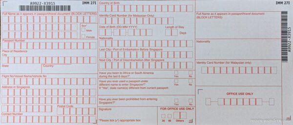 Einreisekarte Singapur -Landing Card - Vorderseite