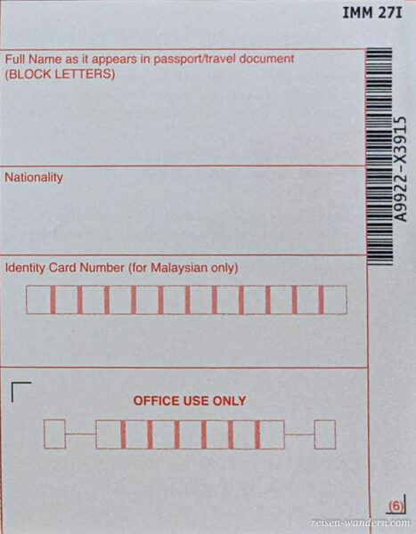 Einreisekarte Singapur -Landing Card - Vorderseite rechts