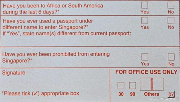 Einreisekarte Singapur -Landing Card - Vorderseite mitte unten
