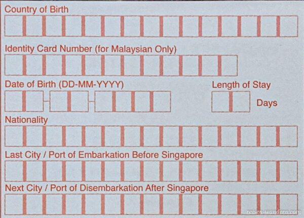 Einreisekarte Singapur -Landing Card - Vorderseite mitte oben