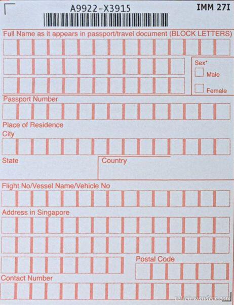 Einreisekarte Singapur -Landing Card - Vorderseite links