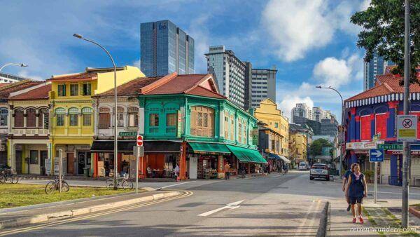 Farbenfrohe Häuser in Little India in Singapur