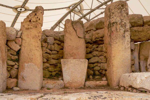 Megalithen im Hagar Qim Tempel auf Malta