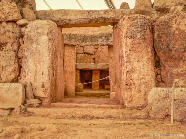 Durchgangsbereiche im Hagar Qim Tempel