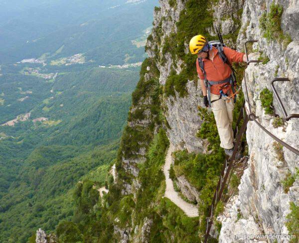 Eisenleiter am Klettersteig Ferrata Gaetano Falcipieri Pasubio
