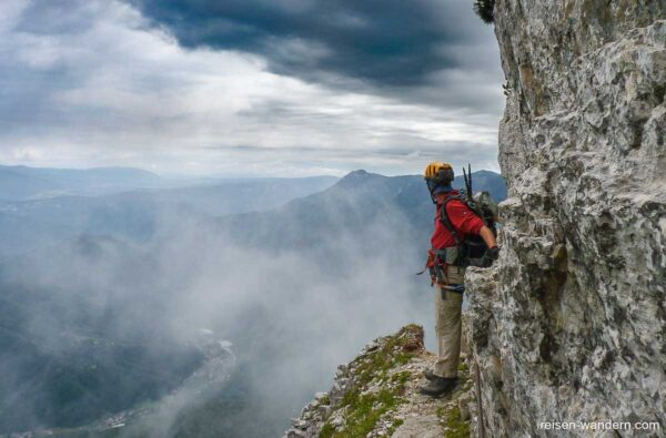 Grat am Klettersteig Ferrata Gaetano Falcipieri Pasubio beim Cin