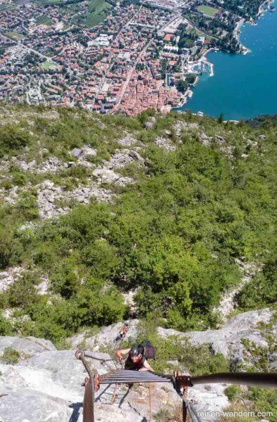 Leiternsteig auf den Cima S.A.T. beim Gardasee