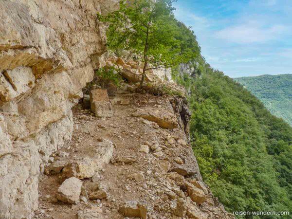 Obereres breites Band am Klettersteig Gerardo Sega