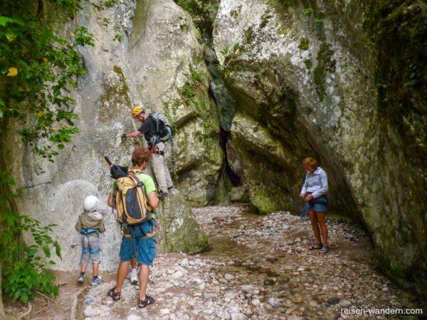 Einstieg des Klettersteig Sentiero attrezzato Rio Sallagoni
