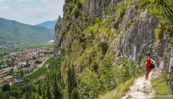 Pfad auf dem Klettersteig Sentiero attrezzato del Colodri