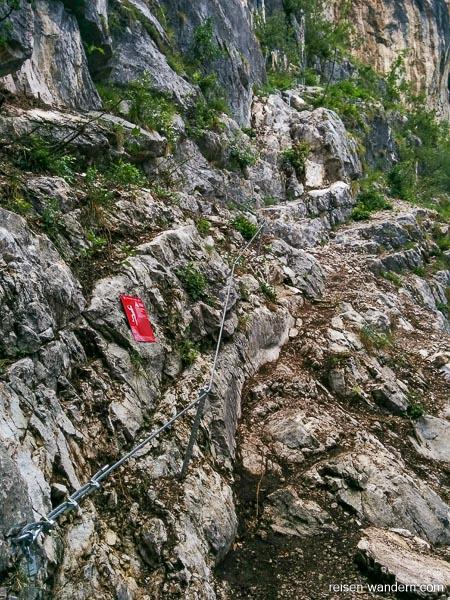 Einstieg zum Klettersteig Sentiero attrezzato del Colodri