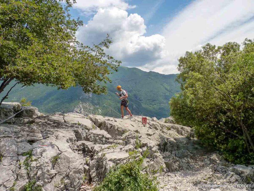 Ausstieg des Klettersteig Sentiero attrezzato del Colodri