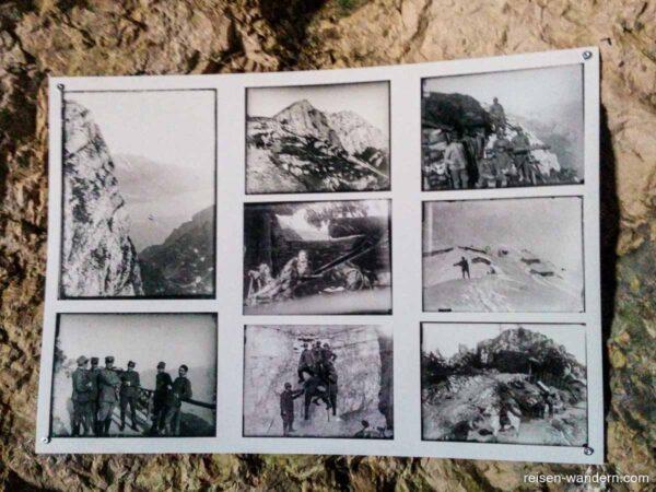 Fotos aus dem 1. Wetlkrieg am Sentiero delle Laste