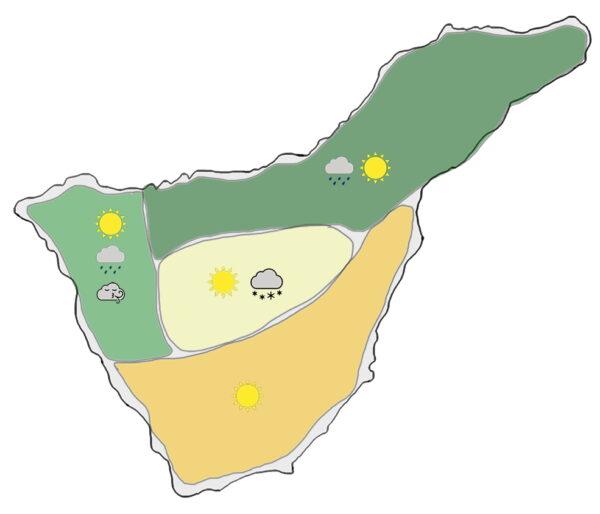 Wettergebiete auf Teneriffa