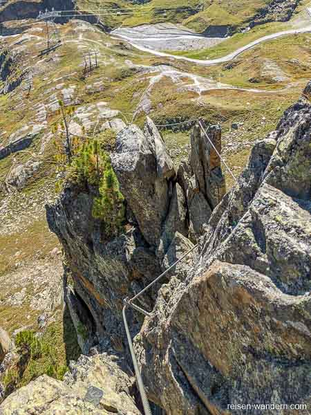 Seilführung am Klettersteig Fernau