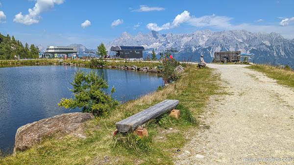 Teich an der Bergstation der Seilbahn Preunegg Jet