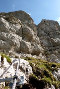 Stahlseile am Klettersteig Leoganger Steinberge
